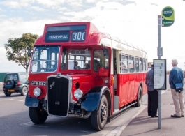 Red vintage bus for wedding hire in Honiton